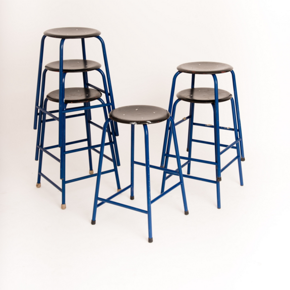 BLACK AND BLUE KITCHEN STOOLS