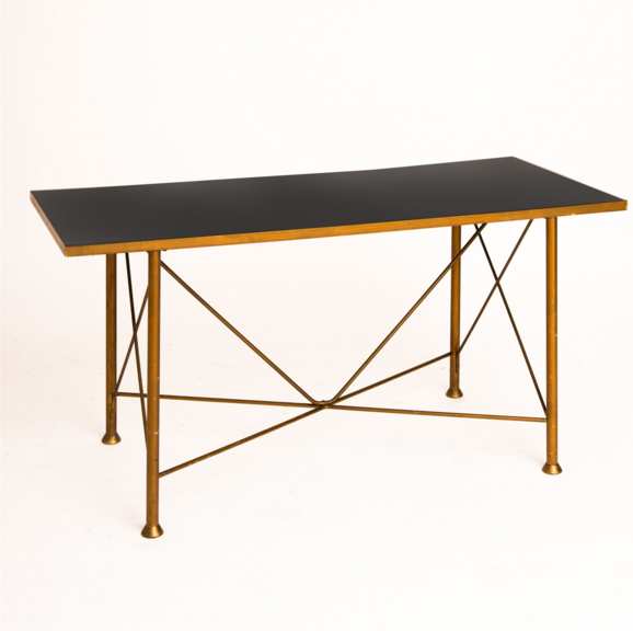 BLACK FORMICA COFFEE TABLE WITH GOLD LEGS