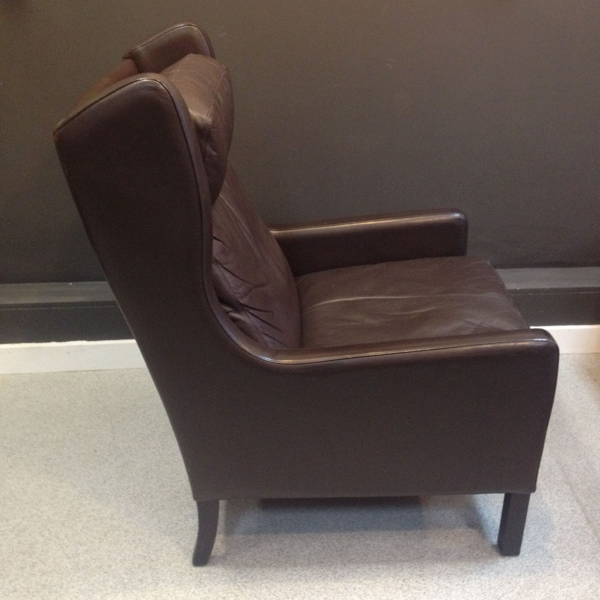 Danish Brown Leather Armchair