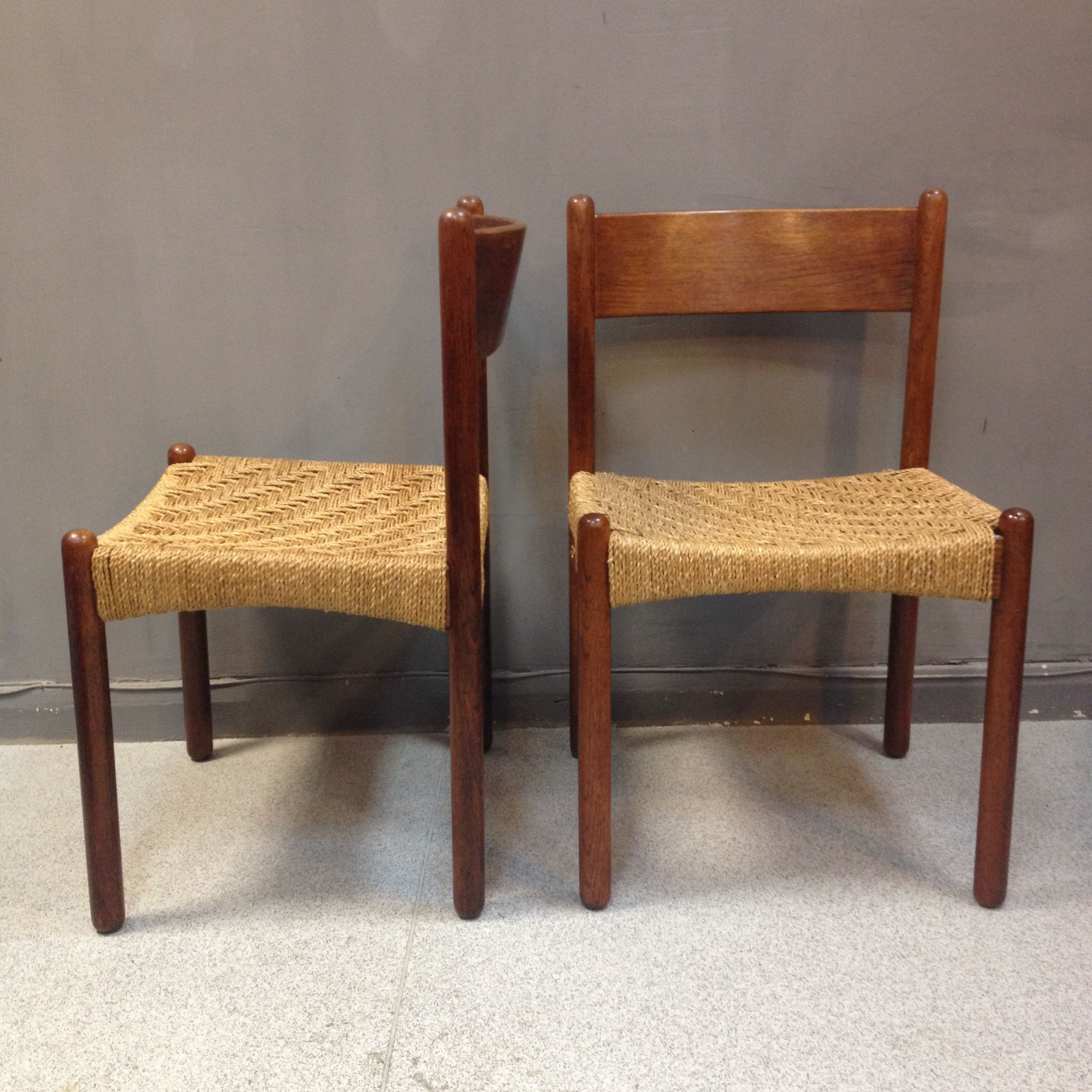 Mid century danish dining chairs with seagrass seats