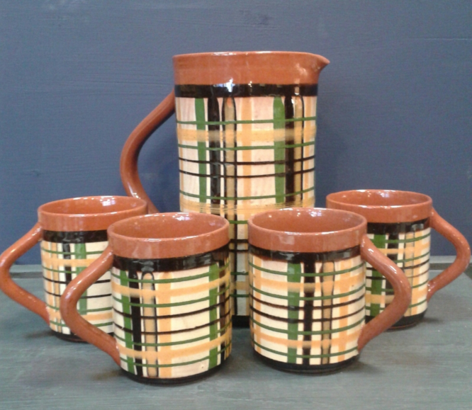STUDIO POTTERY JUG AND 4 CUPS